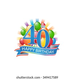 40th colorful happy birthday logo with balloons and burst of light