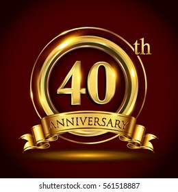 40th golden anniversary logo, forty years birthday celebration with gold ring and golden ribbon.