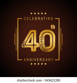 40th golden anniversary logo, laurel wreath isolated on black background, vector design