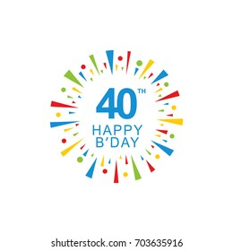 40th Happy Birthday logo, circle shape, colorful sunburst, red blue green yellow color