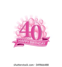 40th pink happy birthday logo with balloons and burst of light