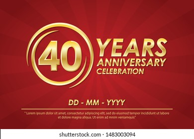 40th years anniversary celebration emblem. anniversary logo with ring and elegance of golden on red background, vector illustration template design for celebration greeting card and invitation card