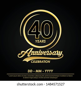 40th years anniversary celebration emblem. anniversary logo with elegance of golden ring on black background, vector illustration template design for celebration greeting card and invitation card