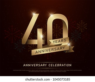 40th years anniversary celebration gold number and golden ribbons with fireworks on dark background. vector illustration