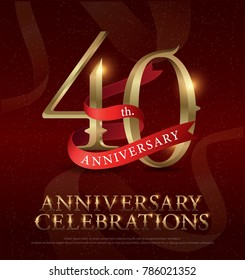 40th years anniversary celebration golden logo with red ribbon on red background. vector illustrator