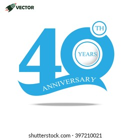 40th years anniversary label in  blue for celebration of company