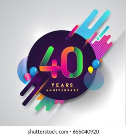 40th years Anniversary logo with colorful abstract background, vector design template elements for invitation card and poster your forty birthday celebration.