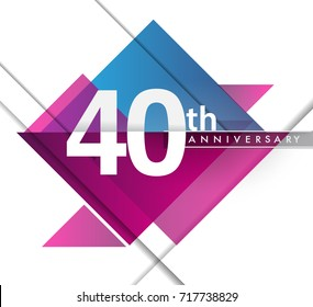40th years anniversary logo with geometric, vector design birthday celebration isolated on white background.