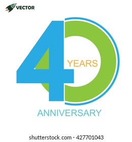 40th years anniversary sign and label vector and illustration