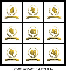 41, 42, 43, 44, 45, 46, 47, 48, 49 anniversary template design golden color with ribbon and ring memorial celebration event