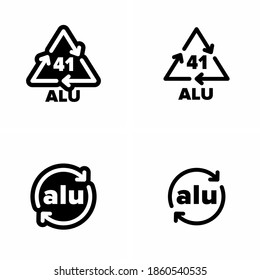 """41 ALU' ""alu"" aliminium recycling code information sign"