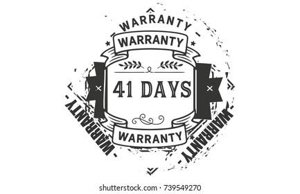 41 days warranty icon vintage rubber stamp guarantee