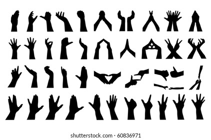 41 human hands silhouettes, elements for your design