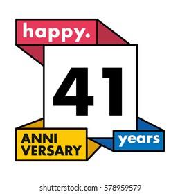 41 Years Anniversary Celebration Design.
