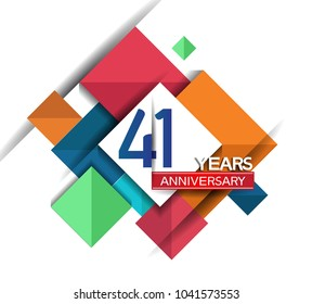 41 years anniversary design colorful square style isolated on white background for celebration