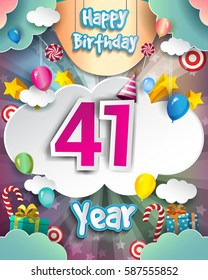 41st Birthday Celebration greeting card Design, with clouds and balloons. Vector elements for the celebration party of forty one years anniversary