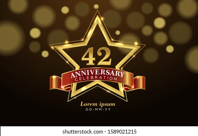 42 Anniversary celebration with golden number and star on luxury brown background.