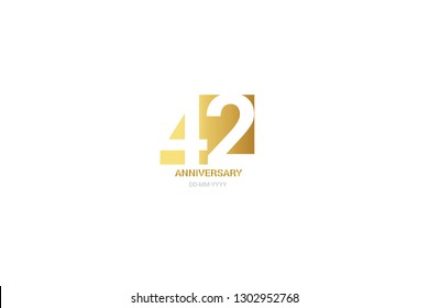 42 anniversary, minimalist logo. Tenth years, 42 jubilee, greeting card. Birthday invitation. 42 year sign. Gold space vector illustration on white background - Vector