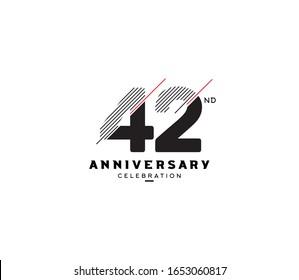 42 nd anniversary or birthday celebration design template Vector.