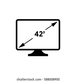 42' resolution.monitor sign. flat icon