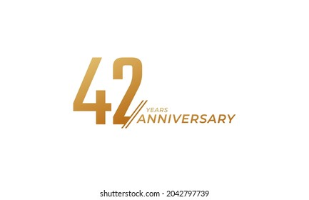 42 Year Anniversary Celebration Vector. Happy Anniversary Greeting Celebrates Template Design Illustration