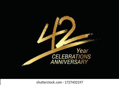 42 year anniversary chalk, golden ink Style , minimalist logo. years, jubilee, greeting card. Birthday invitation sign. Black space vector illustration on black background - Vector