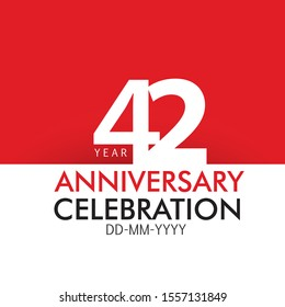 42 year Anniversary Concept Red Color and White for Banner, Greeting Card - Vector