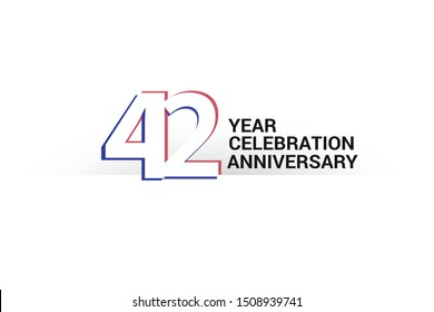 42 year anniversary, minimalist logo years, jubilee, greeting card. invitation. Sign Blue & Red Colors vector illustration on White background - Vector