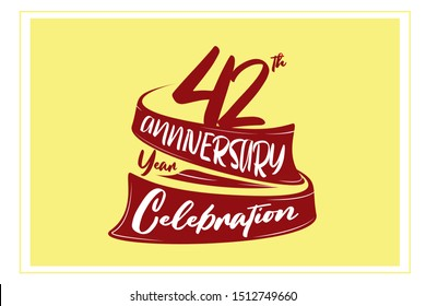 42 year anniversary Red Ribbon, minimalist logo, greeting card. Birthday invitation. 42 year sign. Red space vector illustration on yellow background - Vector