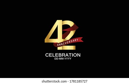42 year anniversary red ribbon celebration logotype. anniversary logo with Red text and Spark light gold color isolated on black background, design for celebration, invitation - vector
