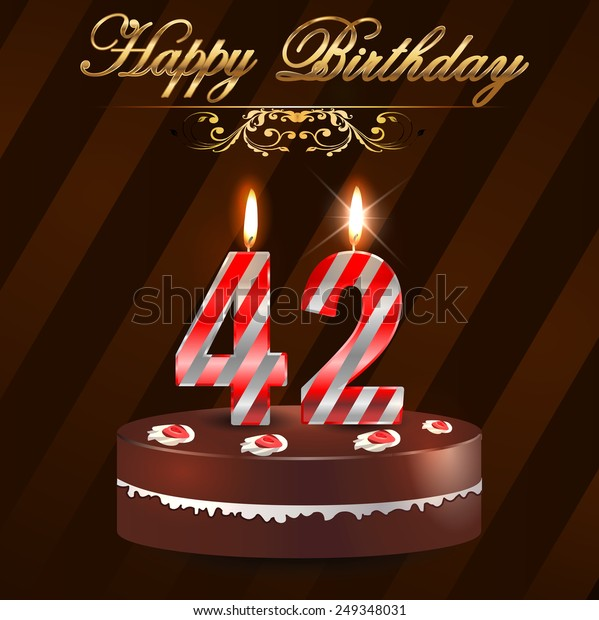 Awesome 42 Year Happy Birthday Card Cake Stock Vector Royalty Free 249348031 Funny Birthday Cards Online Fluifree Goldxyz