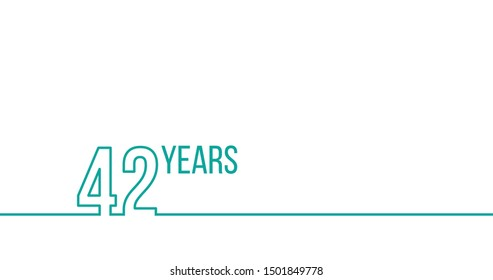 42 years anniversary or birthday. Linear outline graphics. Can be used for printing materials, brouchures, covers, reports. Stock Vector illustration isolated on white background