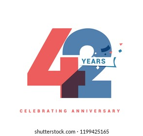 42 years anniversary celebration colorful logo with fireworks on white background. 42nd anniversary logotype template design for banner, poster, card vector illustrator