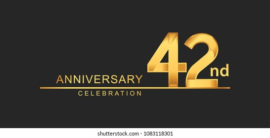 42 years anniversary celebration with elegant golden color isolated on black background, design for anniversary celebration.