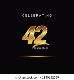42 Years anniversary celebration golden logotype with swoosh isolated on black background, vector illustration design for greeting card, company event, invitation card, birthday