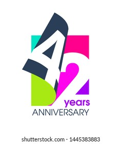42 years anniversary colored logo isolated on a white background for the celebration of the company. Vector Illustration Design Template