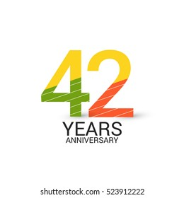 42 Years Anniversary Colorful and Simple Design Style. Logo Celebration Isolated on White Background