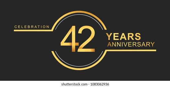 42 years anniversary golden and silver color with circle ring isolated on black background for anniversary celebration event