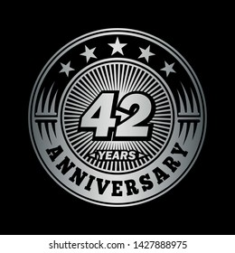 42 years anniversary. Anniversary logo design. Vector and illustration.