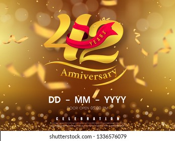 42 years anniversary logo template on gold background. 42nd celebrating golden numbers with red ribbon vector and confetti isolated design elements