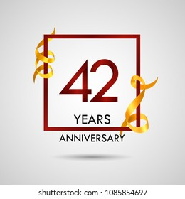 42 years anniversary with red number design inside red square and golden ribbon element, isolated on white background can be used as celebration card