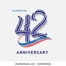 42 years Anniversary ribbon shape numbers with swoosh. Celebrating 42  years anniversary event party template.