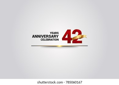 42 Years anniversary using red elegant number isolated on white background, with golden ribbon ca be use as celebration event logo