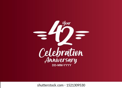 42 years anniversary white colors on red color with triple small stripes on left and right  - vector
