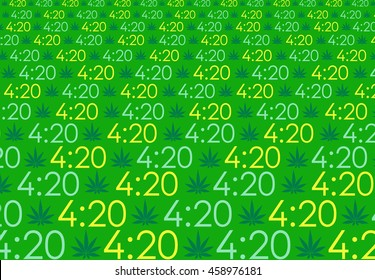 420 abstract marijuana background pattern, cannabis vector pattern with 4:20 numbers symbolizing national stoner smoking time