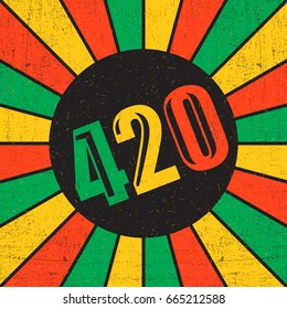 420 inside black circle on rastafarian strips with grunge shapes.