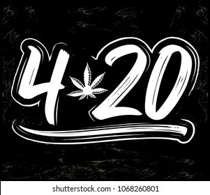 4:20 Marijuana leaf, Cannabis celebration vector lettering design, April 20.