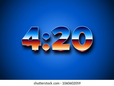 4:20 sign with retro styled shiny chrome digits for prints and party invitation posters