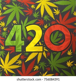 420 symbol with color cannabis leaves.