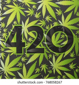 420 symbol with green cannabis leaves.